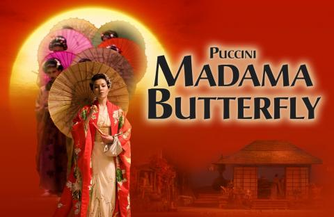 Madama Butterfly in a kimono holding a parasol