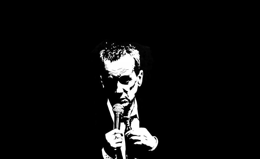 A black and white drawing of Frank with a microphone straightening his tie.